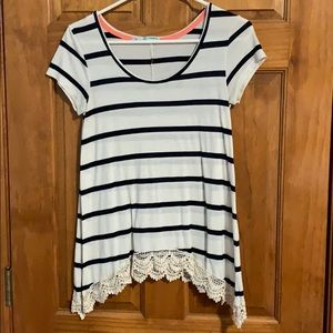 Stripe top with lace detail